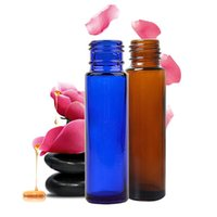 6pcs 10ml Ambre Bleu Vide Essentiel Huile Essential Verre Verre Rouleau de bouteille sur le rouleau parfumé à l'huile de parfum à la lèvre Tubes Gloss