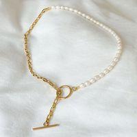 Cadena de acero inoxidable Collar de costura de perlas Hecho a mano de diseño creativo para mujer de alta calidad Regalo de la fiesta de la joyería de alta calidad