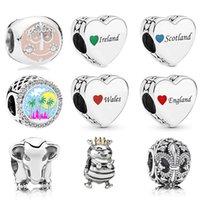 Biżuteria Memnon 925 Sterling Silver Palm Destination Charm Irlandia Walia Anglia Szkocja Love Heart Charms Fleur-de-Lis Bead Fit Pandora Styl Bransoletki DIY