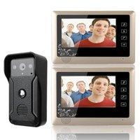 Téléphones de porte vidéo 7 pouces téléphone câblé sonnette d'interphone kit d'interphone 1-caméra 2-moniteur Vision nocturne HD 700TVL Caméra