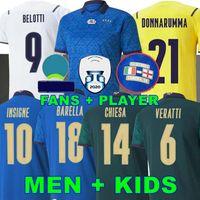 Fans Jogador 2020 2021 Itália Bonucci Julse de futebol Italia Jorginho Insigne Verratti Homens Crianças Camisas de Futebol Chiesa Barella Spinazzola Finais Chiellini Donnarumma