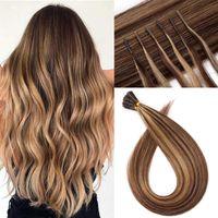 P4 / 27 # Brasilianer I Tipp Haarverlängerung Keratin Fusion Human Hair Extensions 1g / Strangs 100 Stränge / Beutel 11 Farben zur Auswahl von 14-24 Zoll Factory Direct