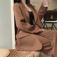 Trajes de mujer Blazers Pantalones casuales Traje de mujer Blazer Jacket Feminino + Botón Pantalón ancho Pantalón 2021 Trabajo de primavera de gran tamaño 2 pieza