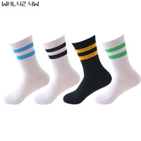 5 Pairs Lot Men Stripes Cotton Socks Retro Old School Hiphop Skate Long Short Meias Harajuku White Black Winter Brand