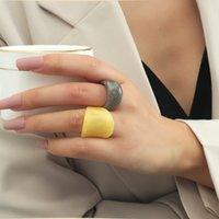 패션 간단한 멋진 바람 기하학 2 피스 아크릴 링 한국어 색 콘트라스트 수지