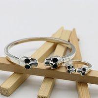Hot style Gothic Punk Trend Accessories: Sterling Silver Skull Bracelet Men's Ring Hair Stylist Silver Bracelet Women's