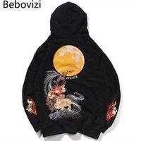 BEBOVIZI Hip Hop Streetwear Harajuku Mond Kaninchen Stickerei Hoodie Männer Chinesischer Stil Sweatshirt Baumwolle Pullover Japan Kleidung X0610