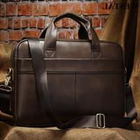 Briefcase Bag Genuine Men's Leather Office K5Kt Laptop For Men Bags WESTAL Messenger Zip Document 7022 Rcwfi