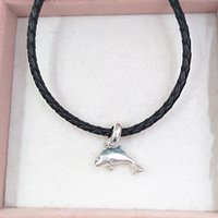 925 Silver jewelry making kit pandora Shimmering Dolphin Dangle charms engraved bracelets personalized for women necklace rope bead bestfriend 2 gifts 798947C01