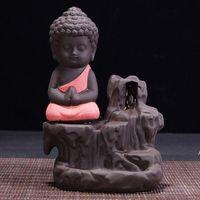 Handgemachte Keramik Lotus Rückfluss Buddhistin Weihrauch Keramik Backflow Räucherbrenner Halter CENSER Aromatherapie Rauchrauch Backflow Stick LLF8837