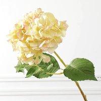 인공 수국 꽃 신부 꽃다발 머리 가짜 실크 단일 진짜 터치 수국 웨딩 센터 픽스 홈 꽃 DHE5100