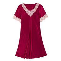 Women's Sleepwear Women Summer Silk Nightgowns Sleepshirts Sexy Spaghetti Strap Pyjama Solid Lace Embroidery Homewear Female Sleep Tops Nigh