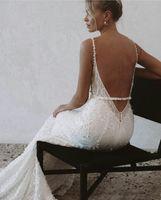 Elegant A Line Wedding Dresses V-neck Sleeveless race applique Wedding Gown backless sweep train Vestidos De Novia