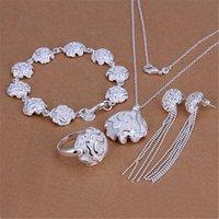 Fine Rose Flower 925 Sterling Sterling Pendentif Anneaux Bracelets Collier Boucles d'oreilles Stud Bijoux Ensemble pour Femmes Fashion Party Cadeau