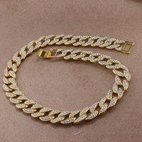 HIP HOP BLING Bijoux en chaîne de mode Or et argent Miami Cuba Chaîne Collier Diamond Collier