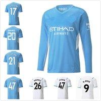 Manchester 2021 2022 Uzun Kollu Adam Şehir Futbol Formaları # 10 Kun Aguero # 17 De Bruyne 21 22 Erkekler Ev Gömlek # 9 G.Jesus Özelleştirilmiş Futbol Üniforması