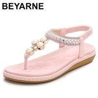 Beyarneplus 크기 4-12 보헤미안 크리스탈 샌들 여성 신발 라인 석 레이디 플립 플롭 진주 미끄럼 방면 여성 플랫 비치 슈 210308