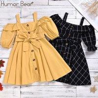 Юмор медведь мода девушки платья хлопок тканые слинг с коротким рукавом ребёнка одежда милая принцесса лук стильные детские платья 210226