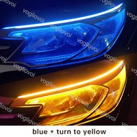 LEDストリップDRLカーの昼間ランニングライトの柔軟な防水ストリップオートヘッドライトホワイトターンシグナルイエローブレーキフローライト12V DHL