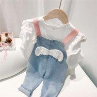 Muumujia Baby Джинсовый ремень Девочки 2020 Новый осенний носить детские комбинезоны женские повседневные брюки