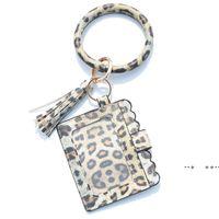 Party Gifts Designer Bag Wallet Leopard Print PU Leather Bracelet Keychain Wallets Credit Card Tassels Key Ring Holder Wristlet GWD10373