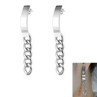 Creative Rose Gold Color Long Chain Dangle Earring For Women Geometric Stainless Steel Stud Earrings Jewelry