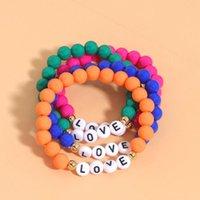 Charm Bracelets Lady Fashion Multicolor Silicone Letter Set For Women Bohemian Handmade Strand Beaded Bangle INS