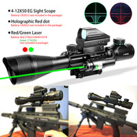 4-12x50 EG EG EG TACTICO Sight Optical Sight Set per la caccia all'aperto Riflescope Holographic Red / Green Dot Laser Sight 20mm Picatinny Rail Mount