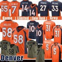 "58 von Miller Jerry Jedy Justin Simmons Football Jersey Drew Lock Bradley Chubb John ELway Denver ""Broncos"" Courtland Sutton Terrell Davis Patrick Satain II II"