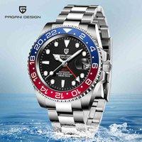디자이너 럭셔리 브랜드 시계 40mm 블랙 다이얼 빛나는 사파이어 세라믹 베젤 GMT 자동 기계 남성 방수 시계