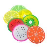 Silicone Fruit Coaster Pattern Colorful Round Cup Mats Cushion Holder Thick Drink Tableware Coasters Mug 6 Style