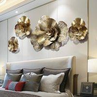 현대 단철 3D 골드 꽃 벽 벽화 장식 홈 거실 벽 교수형 공예 호텔 현관 벽 스티커 장식품 210308
