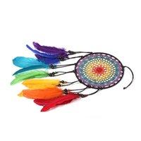 Artes y artesanías Hecho a mano Dreamcatcher Viento Chimes de viento 7 Color arco iris Pluma Dream Catchers para regalos Boda Hogar Decoración Adornos Cuelga Decoración WX03