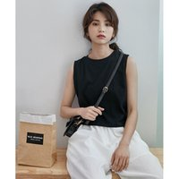 Women's T-Shirt 2021 Summer Fashion Round Neck Wide Shoulder Sling Small Vest Hong Kong Style Short Sleeveless Solid Color