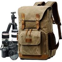 Сумка для камеры Холст Водонепроницаемая модная фотография Сумки на открытом воздухе Износостойкие Большие камеры Рюкзак Мужчины для Nikon / Canon / Sony / Fujifilm