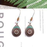National Style Enamel Sunflower Water Drop Dangle Earrings Chandelier hoop Women Ear Rings Ancient Bronze Silver Fashion Jewelry Will and Sandy