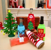 Party Favor christmas knitted wine bottle cover xmas santa snowman moose beer bottle covers T2I52929