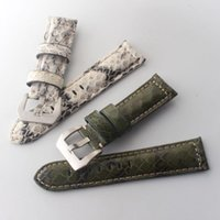 Watch Bands Watchband Special Leather Strap Snake Skin + Cowhide Accessories 22mm 24mm 26mm White Green For Mens Wrist