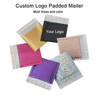 Gift Wrap 50PCS Custom Logo Foil Bubble Mailer Packaging Padded Shpping Bags Postal Mailers With Printed