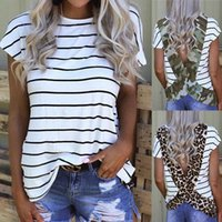 Mulheres camiseta Designers moda listrado leopardo costurado aberto de volta manga curta top feminino t tees combinando leggings e vestidos