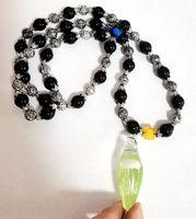 Handmade Glass Jellyfish Vogue Style Black Beads Pendant Strand Ornaments Cool Jewelry