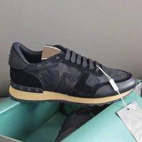 Rockrunner Camuflagem Sneakers Desginer Mens Sapatos Stud Rivet Rivet Treinadores Genuíno Couro Esporte Sapatos Casuais 38 Cores com caixa de presente 264