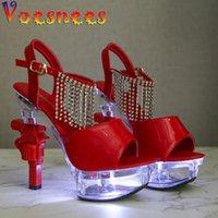 voesnees 빛나는 여자 신발 2021 새로운 특허 가죽 라인 석 여름 여성 샌들 권총 뒤꿈치 14cm 하이힐 웨딩 신발