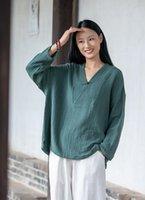 Ethnic Clothing Shanghai Story V Neck Retro Blouse Shirts Chinese Top For Women Cotton Linen Long Sleeve Shirt
