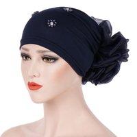 Большой цветок Внутренний Hijab Caps Bubbering Turban для женщин Исламские головные уборы Одежда Женская капота Шляпа Мусульманские Головы Обертывания Турбанты