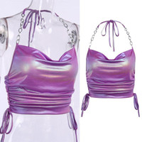 Women's Tanks & Camis Womens Ruched Drawstring Halter Crop Top Hologram Backless Metal Chain Camisole