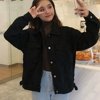 2021 Nuevas chaquetas sueltas de Harajuku coreano Vintage Jean Mujeres Negro Denim Jeckets Casual Wild BF Style Abrigo Outwear KBT3