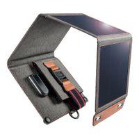 Clotech 14W Caricabatterie solare impermeabile Pannello solare portatile all'aperto con 4 pieghevole per la fotocamera tablet smartphone Powerbank e campeggio-Black Black
