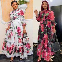Mode Afrikanisches Kleid für Frauen 2021 Neue Dashiki Afrikanische elegante Blumen Gedruckt Chiffon Lang Kleid Dinner Party Sexy Robe