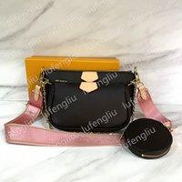 New Leather Bag Favorito Multi PoChette Acessórios Bolsa Bolsa De Couro Genuíno Flor Flor Ombro Crossbody Bag Senhoras Bolsas 3 Pcs Bolsas De Bolsa
